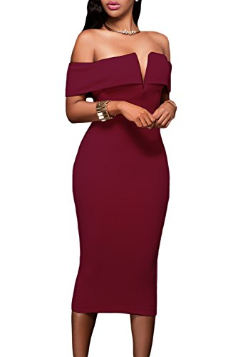 Alvaq Women's Sexy V Neck Off The Shoulder Evening Bodycon Club Midi Dress,Burgundy,Small