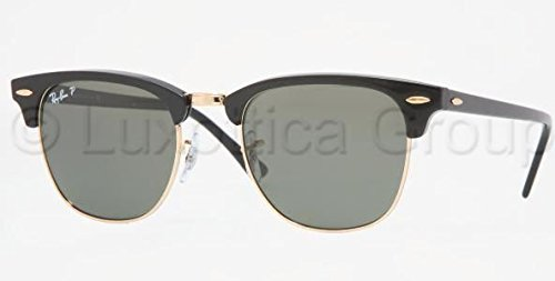 Ray-Ban Men's Clubmaster Polarized Aviator Sunglasses, Black, 49 - Prescription Aviator Ban Ray Glasses