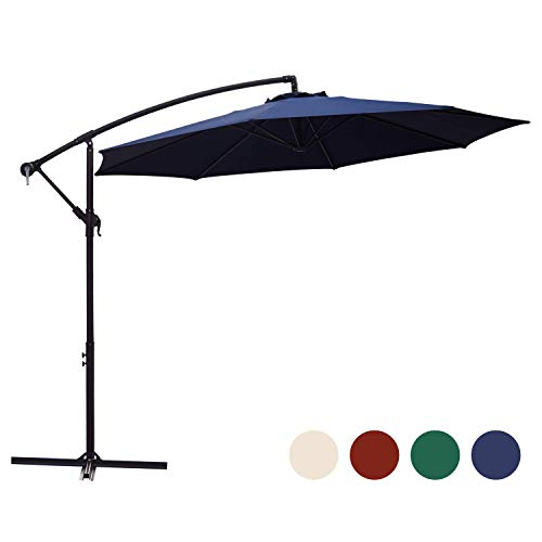KINGYES 10ft Patio Offset Cantilever Umbrella Market Umbrellas Outdoor Umbrella with Crank & Cross Base for Garden, Deck,Backyard and Pool(Navy Blue) ()