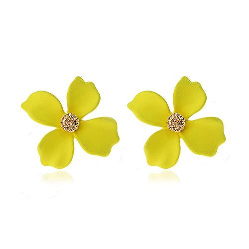 GRACE JUN Enamel Paint Clover Leaf Clip on Earrings No Pierced for Women Party Wedding Charm Ear Clip (Yellow)