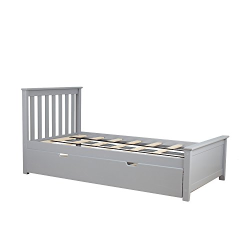 (Max & Lily Solid Wood Twin-Size Bed with Trundle Bed, Grey)
