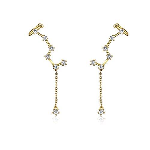 IRIS GEMMA Constellation Ear Crawler Earrings Ear Climber Earrings, Gold Plated, AAA Zircon Inlayed, Hypoallergenic Earrings for Women