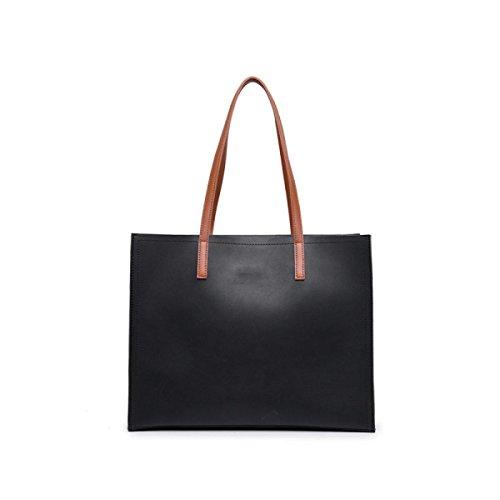 GSHGA Bolsos De Diseño Para Las Mujeres Bolsos De Hombro De Cuero De Las Señoras Bolsas De Gran Tamaño Simple Y Elegante,Black Black
