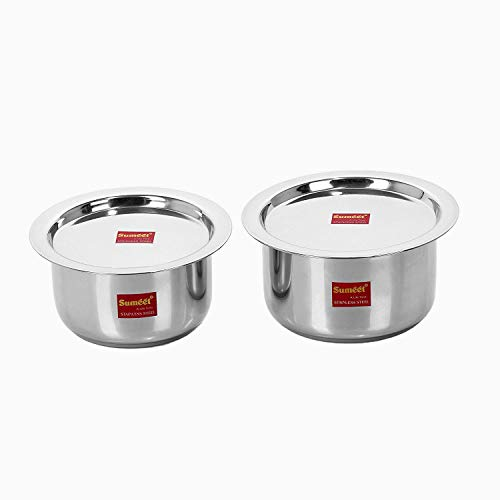 Sumeet 2 Pcs Stainless Steel Induction  amp; Gas Stove Friendly Container Set/Tope/Cookware Set with Lids   Size No.13  amp; No.14