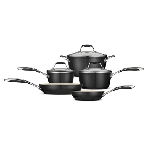 Tramontina 80110/200DS Gourmet Ceramica Deluxe Cookware Set, PFOA- PTFE- Lead and Cadmium-Free Ceramic Interior, 8-Piece, Metallic Black, Made in Italy