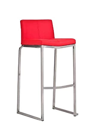 0ef83c95dee873 CLP Tabouret de bar en acier inoxydable KANSAS revêtu de cuir avec dossier,  hauteur assise