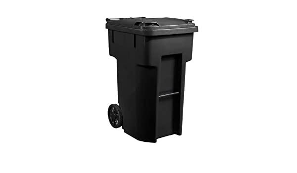 . Amazon com  96 gallon black heavy duty outdoor trash can with wheels