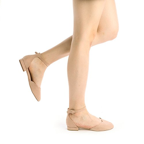 DREAM PAIRS Women's Sole_Vogue Nude Fashion Low Stacked Ankle Straps Flats Shoes Size 8 M US by DREAM PAIRS (Image #4)