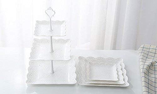 Keramikimitat aus Kunststoff Servier-Nachtischst/änder mit Platten in verschiedenen 2 Sets Candora Dreist/öckige mit Speisepr/äsentationsset f/ür Festessen quadratische Etagere