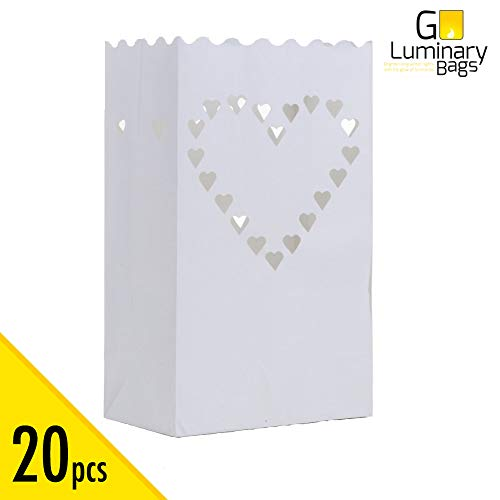 20 pcs White Luminary Bags, Candle Bag with Big Heart Design, Durable and Reusable Fire-Retardant Cotton Material Paper Lantern Bags for Wedding Valentine Reception Engagement Marriage Proposal Event