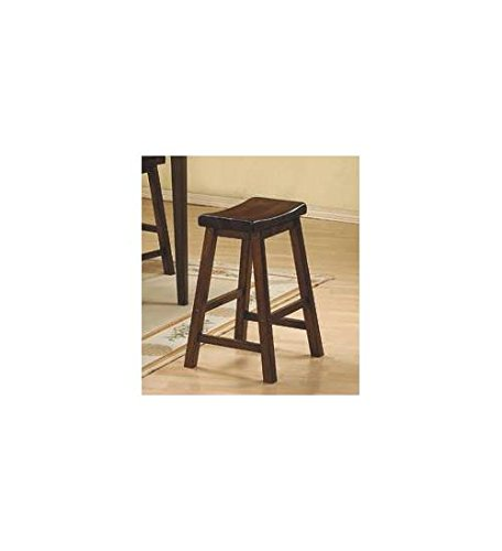 Saddleback Stool in Distressed Cherry Finish - Set of 2 (24 (Distressed Cherry Finish Wood)