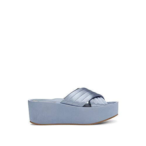 Kenneth Cole New York Women's Damariss Platform X-Band Slip On Sandal Slide, Blue, 7.5 M US