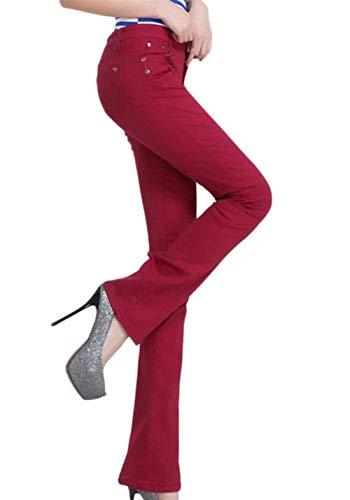 Size 28 Skinny Casual Acampanados Mujeres De Color Casuales Burgunderrot Botón Con Jeans Pantalones Fit Sólido Mujer Bolsillos Slim Micro color qUIHn7zw