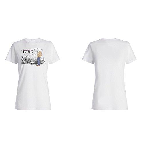 Mode Jungen lustige Vintage Kunst Stadt Damen T-shirt yy24f