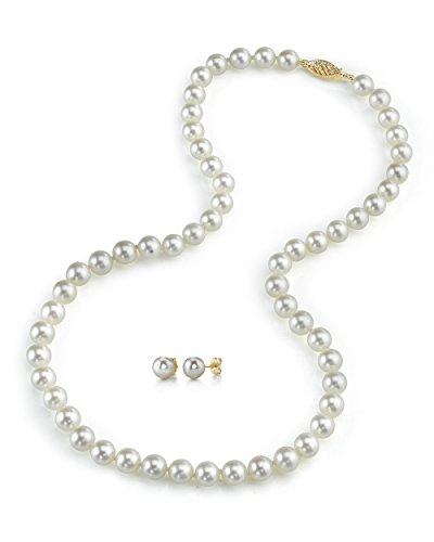 14K Gold 7.5-8.0mm Japanese Akoya White Cultured Pearl Necklace & Earrings Set, 18'' Length - AAA Quality by The Pearl Source