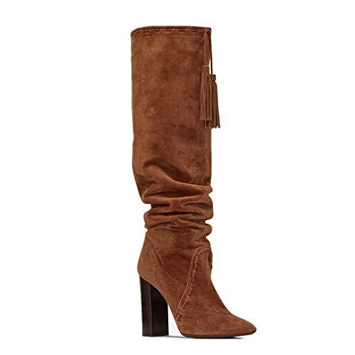 Chaussures Haute Travail Brown Hiver Bottes Talons L'automne Bottes Bloc Femmes Houppe Marron Talon Cuissardes Suède Fête Soir Étirer Aiguilles TIwx4R