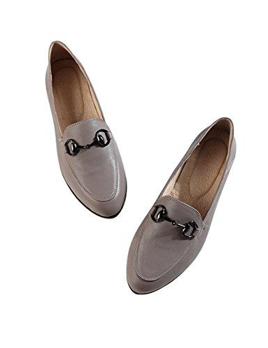 Zoulee Bouton En Métal Bouton En Cuir Chaussures Gris