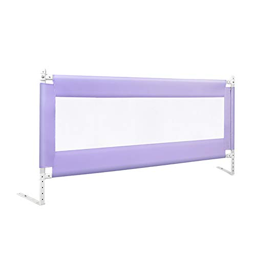 Toddlers Bed Rail Lifting 5 Height Adjustable Baby Bedrail Full Size Purple Child Safety Mesh Guardrail for Queen and King Size Bed (Size : 200cm)