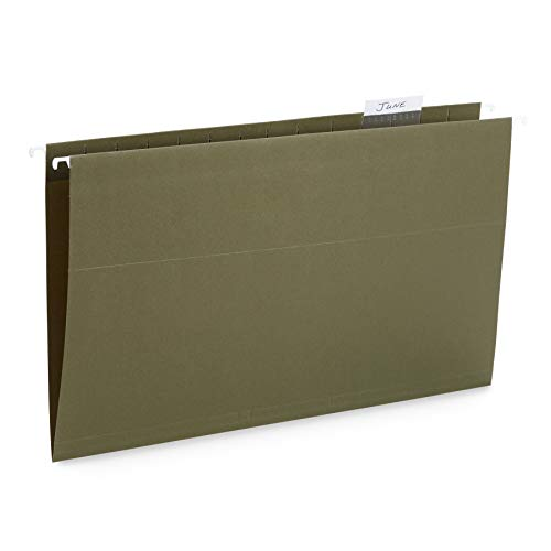 Blue Summit Supplies 50 Legal Size Hanging File Folders, 1/5 Cut Adjustable Tabs, Legal Size, 5 Tab Locations, Designed for Legal and Law Office File Organization, Standard Green, 50 Pack, Legal Size (14x13 Hanging File Folders)