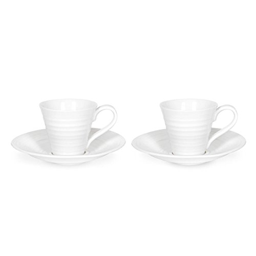 Sophie Conran by Portmeirion Espresso Cups and Saucers, Set of 2, White