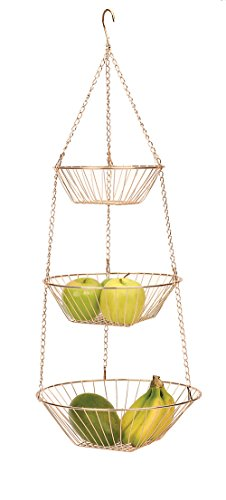 RSVP International 3-Tier Hanging Wire Basket, Copper One Size