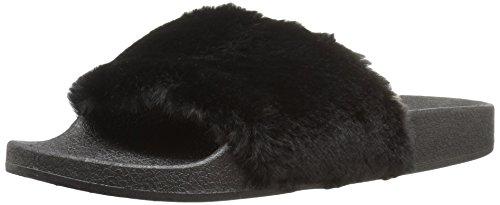 Fur Slipper 01 Faux Qupid Women's Black Booboo OxqwnYtU