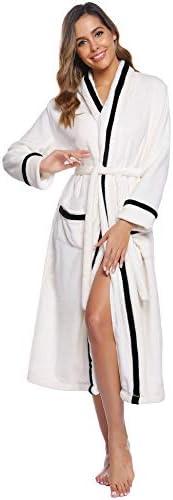 Aibrou Donna Vestaglia Lunga Invernale Kimono Vestaglia Elegante da Donna Pigiama Camicia da Notte con Cintura per Spa Hotel Casa