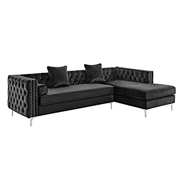 Amazon Com Sectional Sofa With Chaise 2 Piece Set Velvet Crystal