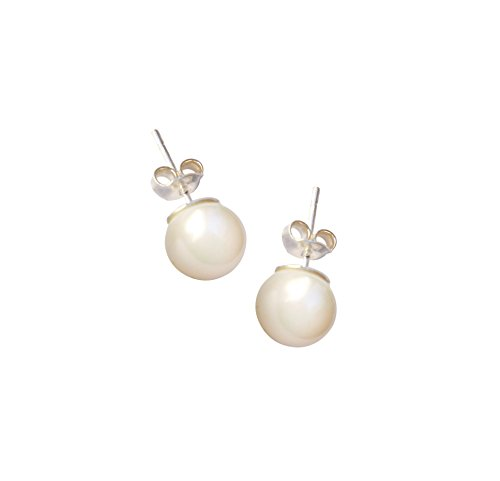 Sterling Silver Freshwater Pearl Stud Round Earrings Round Button Pearls (Dangling Pearl Stud)