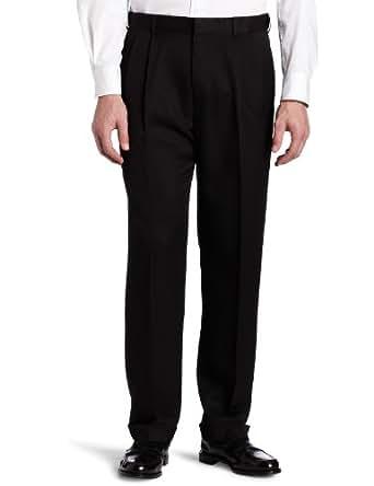 Haggar Mens Crowsfoot Subtle Texture Fancy Pleat Front Dress Pant,Black,32 / 30