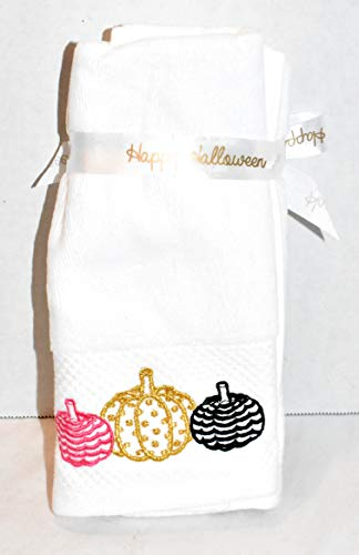 New 2pc Set Embroidered Colorful Pumpkins Finger TIP Towels Kitchen OR Bathroom Hand Towel]()