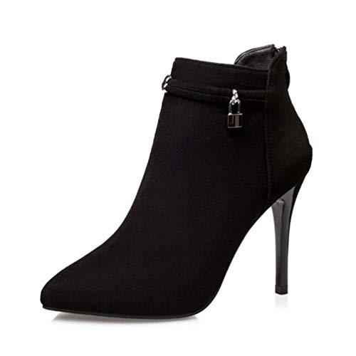 Tacchi Tacchi Donna Stivali Stivali Alti Moda Stivali Tacchi Boots Elegante a Pelle Stivali Nero Spillo Scamosciata Sharp RqzFF