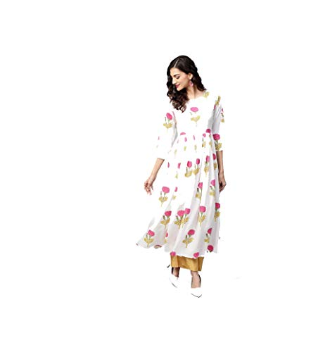 Hiral Designer Mall Readymade Casual Cotton Long Women Dress Kurti for Women A-line & Party Wear Indian (small-34, Off-White & - Off White Salwar Kameez Cotton
