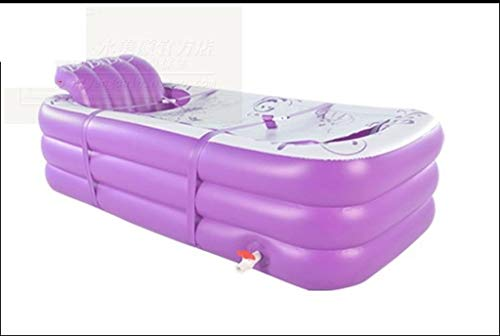 Baby bathtub, Folding Portable Child Adult Inflatable Bathtub Can Lying Bath Tub Insulation Bath Barrels Convenient Drainage Plunge Bath TINGTING (Color : Purple, Size : 1658545cm)]()