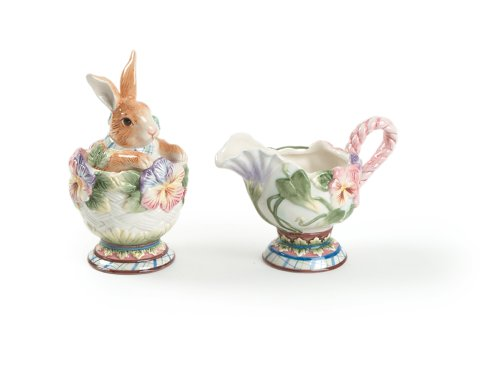 Halcyon Collection, Sugar and Creamer Set (Peeking Bunny)