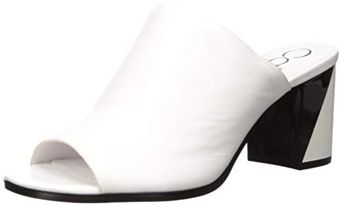 Calvin Klein Women's Coral Heeled Sandal, White Leather, 7 M US