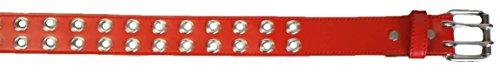 Two Row Grommets (Faux Leather Belt Double Grommet holes 2 Prong Row Buckle Unisex Belt)