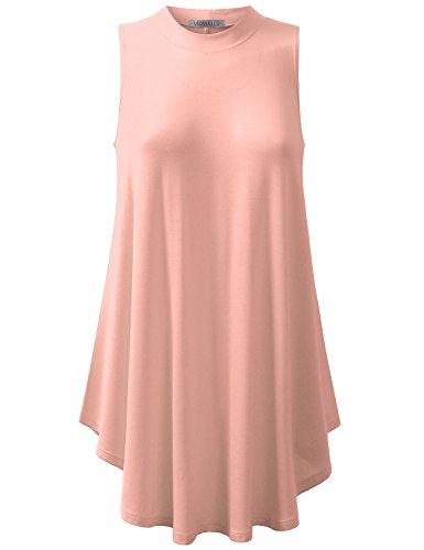 URBANCLEO Womens Mock Neck Sleeveless eLong Tunic Top - Peach Tunic Top