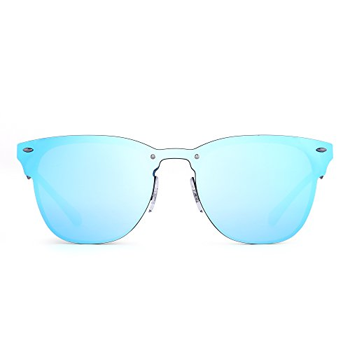 Anteojos Con Una de Gafas Azul Sin Mujer Borde Metal Cuerno Espejo Pieza Sol Negro Hombre Marco Espejo SqgSWP0