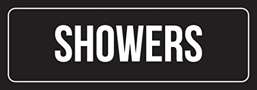 iCandy Combat Black Background with White Font Office Showers Plastic Wall Sign - 2 Pack, 3x9 Inch ()