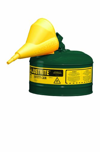 Justrite 7125410 Type I Galvanized Steel Oils Safety Can with Funnels Value Packages, 2.5 Gallon Capacity, - Extra Capacity High Label