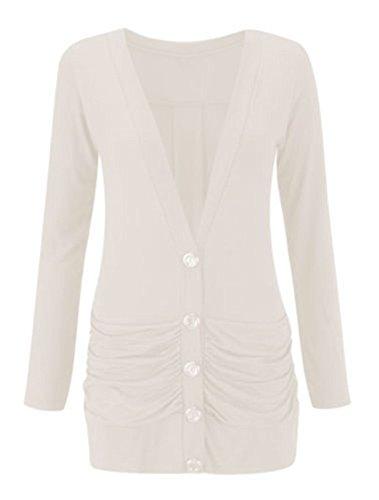 Size Womens Pocket 26 Ladies Blanc Cardigan 8 Boyfriend Longsleeve up Button 0wzndzU