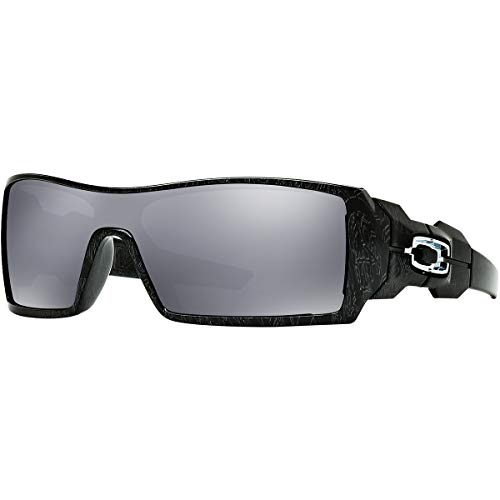 Oakley Oil Rig Men's Lifestyle Sports Sunglasses/Eyewear - Polished Black/Silver Ghost Text/Black Iridium/One Size Fits All