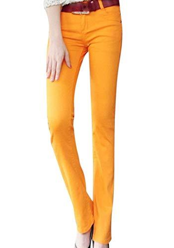 Avec Bouton Mode Casual Poches Dame Évasé Unie Décontracté Pantalons Jeans Femmes Skinny Couleur Pantalon Pour Micro De Slim Orange Fit q4EZTfw