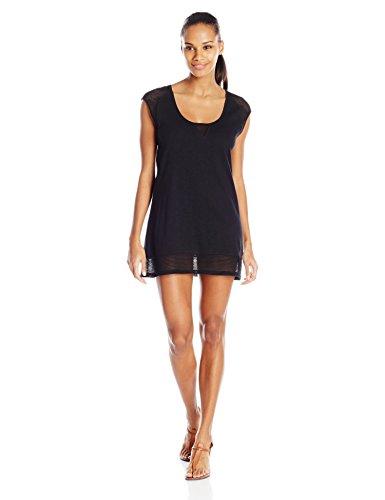 (Speedo Women's Crochet Slub Jersey Tunic Cover Up, Black, X-Large)