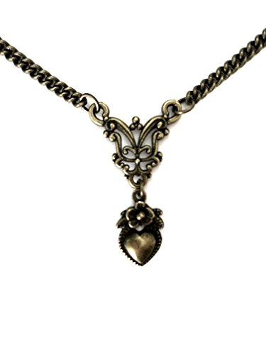 8th Wedding Anniversary Gifts for Her - Vintage Heart Necklace Bronze Filigree - Boxed & Gift Wrapped