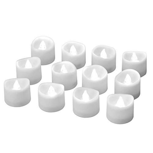 eLander LED Tea Lights Flameless Candle with Timer, 6 Hours on and 18 Hours off, 1.4 x 1.3 Inch, Cool White, [12 Pack]