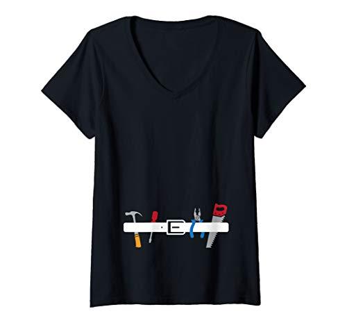 Womens Construction Worker - Tool Belt - Halloween Costume V-Neck T-Shirt -