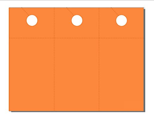 "Door Hanger with Removable Coupon Card, Print-Ready, 3-2/3 x 8-1/2, 3-UP on 8-1/2"" x 11"" Cosmic Orange 65-lb Astrobrights Cover, Perfed for Separation, with 1"" Hole - 250 Sheets (750 Hangers)"