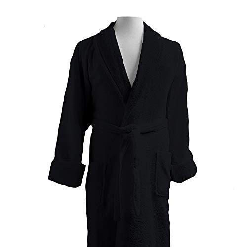 Luxor Linens Couple's Terry Cloth Bathrobe Egyptian Cotton Unisex/One Size Luxurious Soft Plush Elegant San Marco (Single Robe, Custom Monogram, Black) ()
